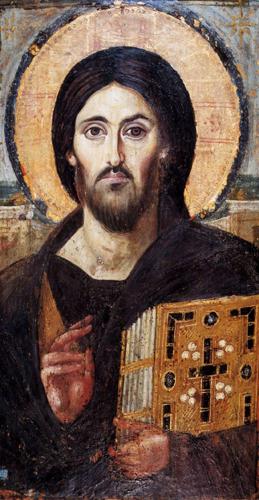 IMMAGINE 1 Cristo Pantocreatore VI sec encausto su tavola 84,5 x 44,3 monastero S
