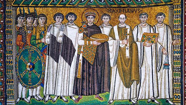 Immagine 1b: Giustiniano ed il suo seguito, 540-548, mosaico, basilica di San Vitale (Ravenna).