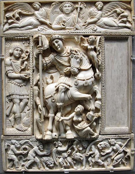 Immagine 2: Avorio Barberini, prima metà del VI secolo, avorio, originariamente a Costantinopoli. Ora è al museo del Louvre, Francia.