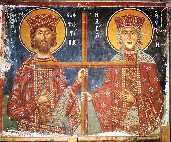 Immagine 4: Costantino e la madre Elena, tra XI e XIII secolo, affresco, monastero di San Michele Arcangelo, Cipro.