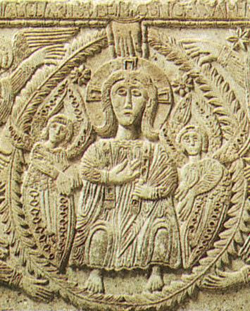 IMMAGINE 4 Dettaglio dell'Altare del duca Ratchis con Cristo in gloria, 737-44, bassorilievo in pietra d'istria. cividale del f museo cristiano