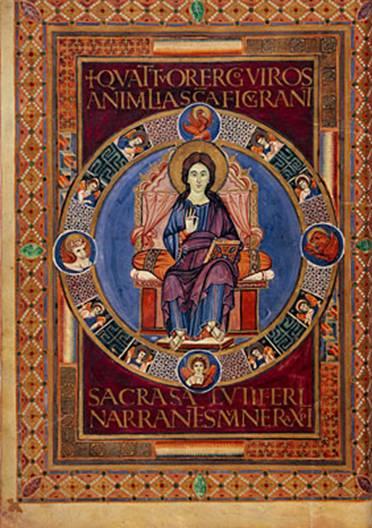 IMMAGINE 5 Codex Aureus di Lorsch o Vangeli di Lorsch, tra 778 e 820 (Biblio Apostolica Vaticana, Batthyaneum in Romania e Victoria e Albert Museum Londra)