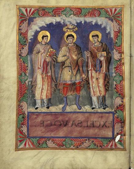 Immagine 5: Incoronazione di un re idealizzato tratto dal Sacramentario di Carlo il Calvo, fine IX secolo, miniatura su pergamena. Oggi è conservato alla Biblioteca Nazionale di Francia.