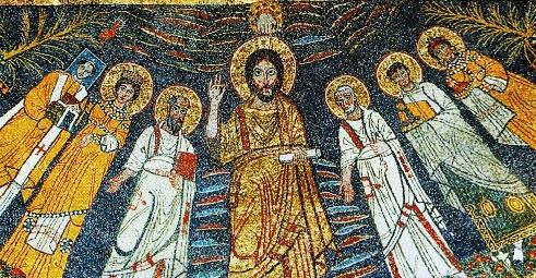 IMMAGINE 6 Dettaglio con Cristo ed i santi, IX secolo, basilica S Cecilia in Trastevere, Roma