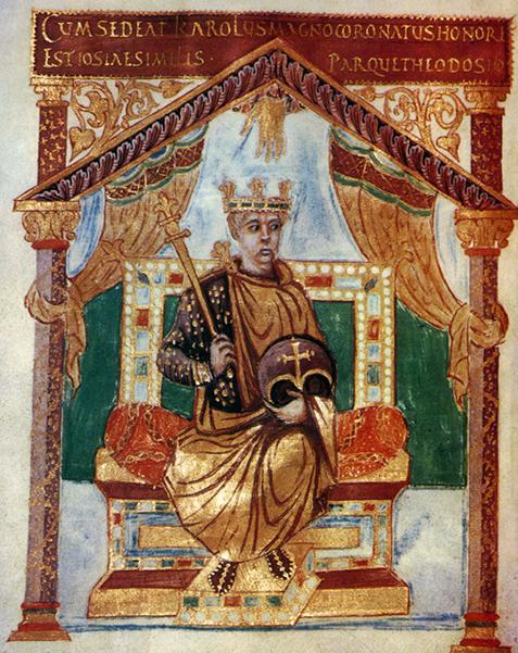 Immagine 6: Salterio di Carlo il Calvo, IX secolo, miniatura su pergamena. Oggi è alla Biblioteca Nazionale di Francia.