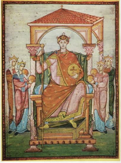 Immagine 7: Ottone II omaggiato dalle province dell'impero, Registrum Gregorii, 983, miniatura su pergamena. Oggi è al Musée Condé, Francia.