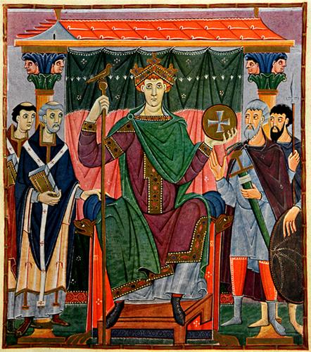 Immagine 8: Evangeliario di Ottone III, inizio XI secolo, miniatura su pergamena. Oggi è a Monaco, alla Biblioteca Statale di Baviera.